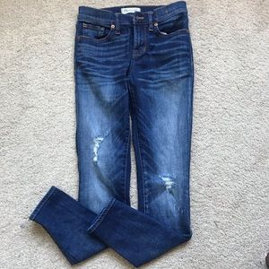 Madewell Ripped Mid Rise Medium Wash Skinny Jeans